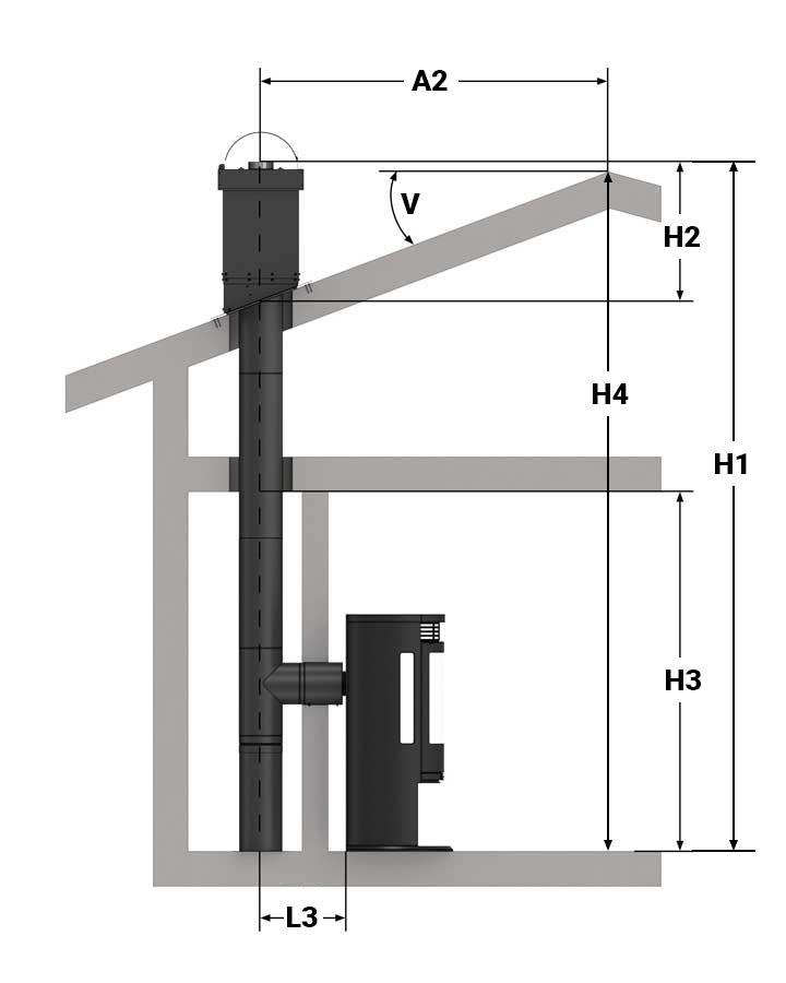 Illustrasjon av bakmontering gjennom innervegg, helisolert pipe og to etasjer