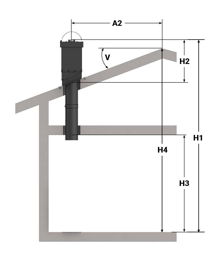 Illustrasjon av ettermontering, ventilert pipe og to etasjer