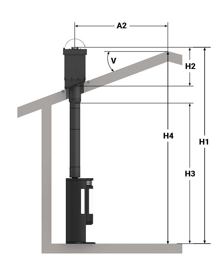 Illustrasjon av toppmontering, halvisolert pipe og en etasje