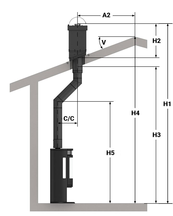 Illustrasjon av toppmontering, halvisolert pipe med sideforskyvning og en etasje